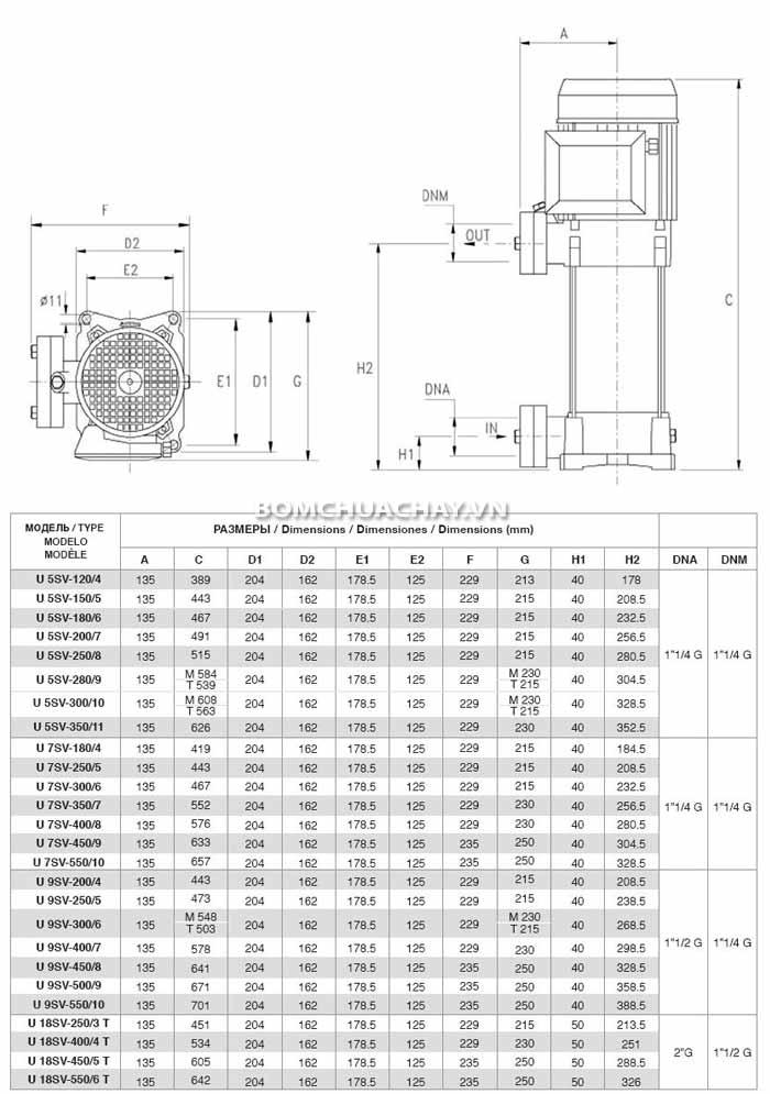 Kích thước Máy bơm tăng áp bù áp lực Pentax Urtra U5V