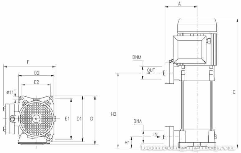 kích thước Máy bơm tăng áp bù áp lực Pentax U7V