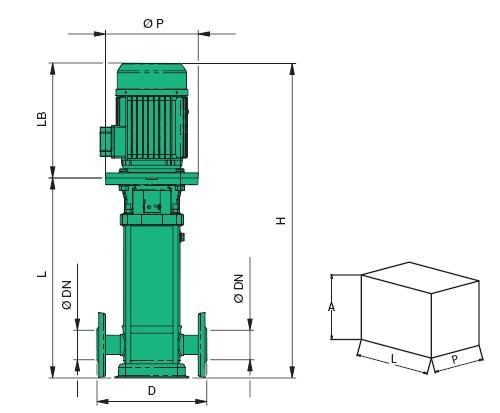 Máy bơm tăng áp Sealand MVX chi tiết kích thước