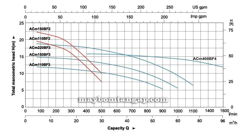 Máy bơm nước LEO ACm150BF2 chi tiết biểu đồ cột áp