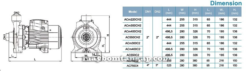 Máy bơm nước LEO ACm220C (H) 2  Kích thước