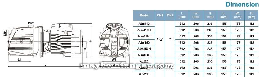 Máy bơm nước LEO AJm110(H) kích thước