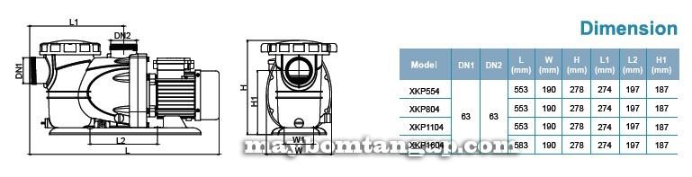 Máy bơm nước LEO XKP1604 kích thước