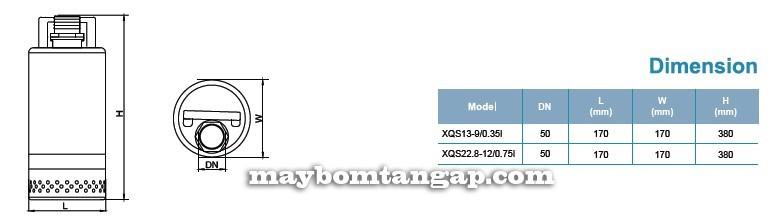 Máy bơm nước LEO XQS22.8-12/0.75I kích thước