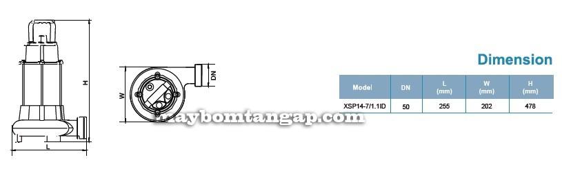 Máy bơm nước LEO XSP14-7/1.1ID kích thước