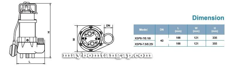 Máy bơm nước LEO XSP8-7/0.18I kích thước