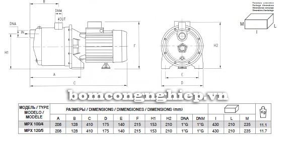 Bảng kích thước chi tiết của máy bơm nước Pentax MPX