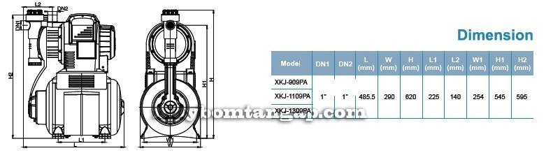 Máy bơm tăng áp LEO XKJ-909PA kích thước