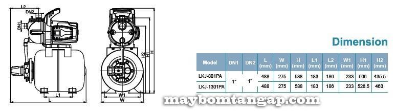 Máy bơm nước LEO Lkj-801PA kích thước