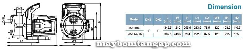 Máy bơm nước LEO Lkj-801S kích thước