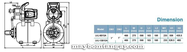 Máy bơm nước LEO Lkj-801SA kích thước