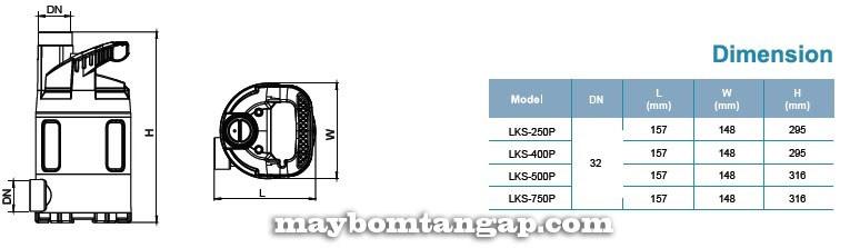 Máy bơm nước LEO LKS-250P kích thước