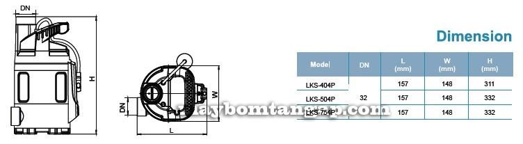 Máy bơm nước LEO LKS-404P kích thước