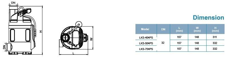 Máy bơm nước LEO LKS-404PS kích thước