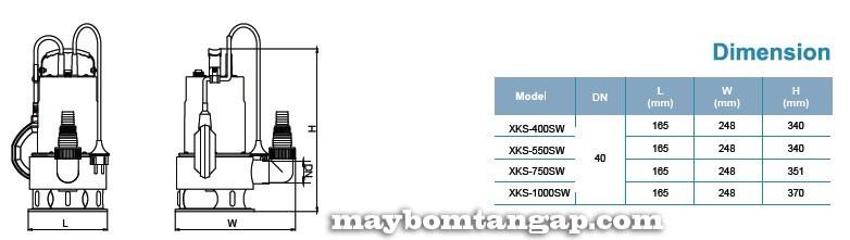 Máy bơm nước LEO XKS-400SW kích thước