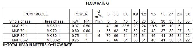 Bảng thông số kỹ thuật của máy bơm nước LuckyPro MKP60-1