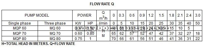 Bảng thông số kỹ thuật của máy bơm nước LuckyPro MQP60