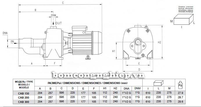Bảng chi kích thước chi tiết của máy bơm nước Pentax CAB