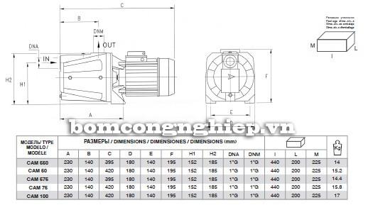 Bảng kích thước chi tiết của máy bơm Pentax CAM