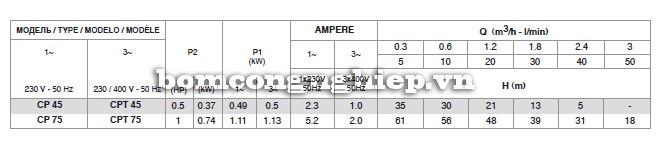 Bảng thông số kỹ thuật của máy bơm nước Pentax CP