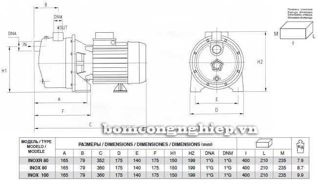 Bảng chi tiết kích thước của máy bơm nước Pentax INOX