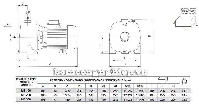 Bảng kích thước chi tiết của máy bơm nước Pentax MB