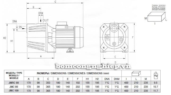 Bảng kích thước chi tiết của máy bơm nước Pentax JMC