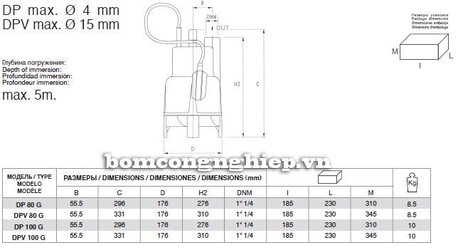 Bảng kích thước chi tiết của máy bơm nước Pentax DPV