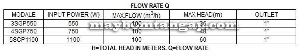 Máy bơm nước Forerun 3SGP bảng thông số kỹ thuật