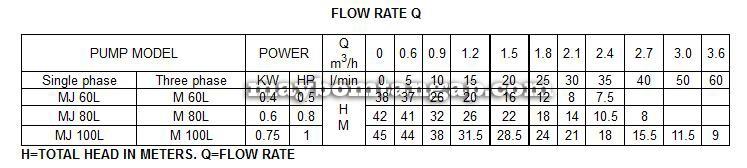 Máy bơm nước Forerun MJ100L bảng thông số kỹ thuật
