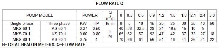 Máy bơm nước Forerun MKS60-1 bảng thông số lưu lượng cột áp