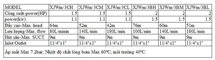 Bảng thông số kỹ thuật của máy bơm nước Liup Pro Jet XJWM