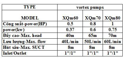 Bảng thông số kỹ thuật của Máy bơm nước Liup Pro XQM80