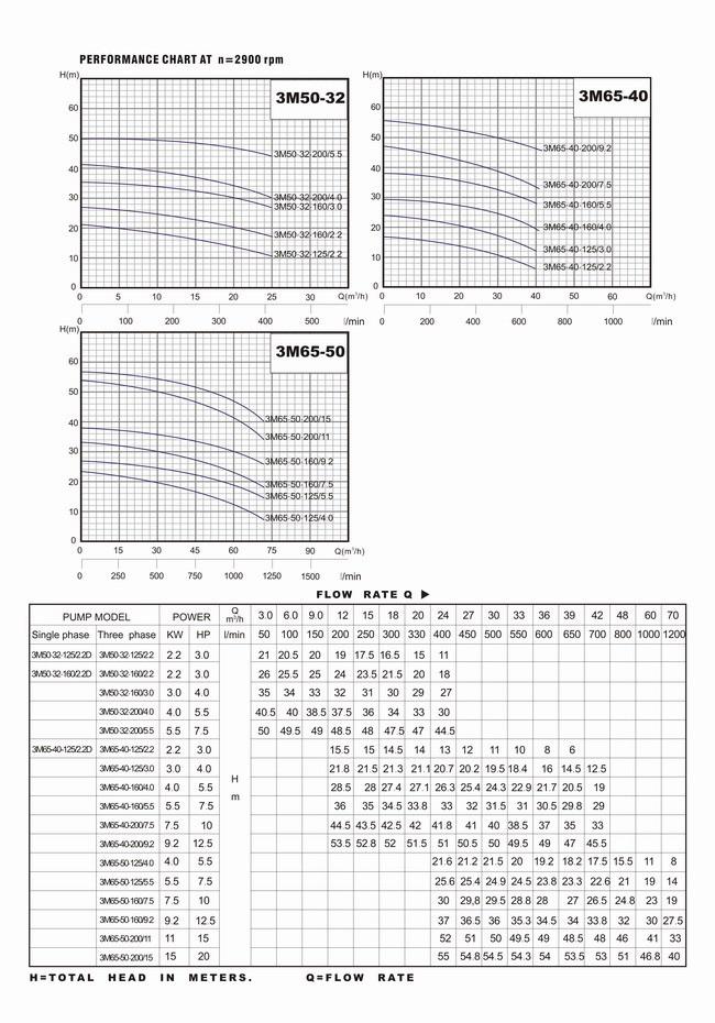 Bảng thông số kỹ thuật và biểu đồ lưu lượng cột áp của máy bơm nước LuckyPro 3M