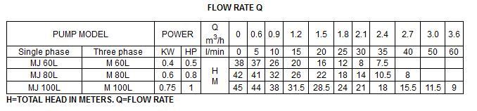 Bảng thông số kỹ thuật của  máy bơm nước LuckyPro MJ100l