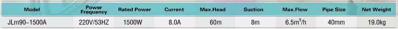 Máy bơm tăng áp Nhật Bản JLm90-1500A bảng thông số kỹ thuật
